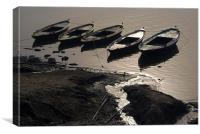 Boats in the Ganges, Canvas Print