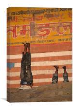 Doing Yoga on the Ghats at Varanasi, Canvas Print