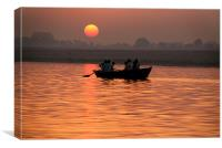 Rowing Boat on the Ganges at Sunrise, Canvas Print