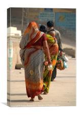 Walking Along the Ghats, Canvas Print