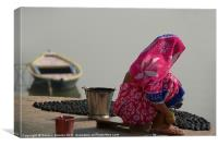 Woman in Pink Sari by Ganges, Canvas Print