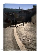 Cobbled Street near Prague Castle, Canvas Print
