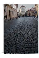 Cobbled Street, Prague, Canvas Print