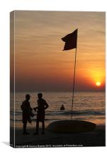 Life Guard Station at Sunset Palolem Beach, Canvas Print