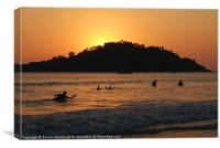 In the Sea at Sunset Palolem, Canvas Print