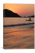 Kayaking at Sunset Palolem, Canvas Print