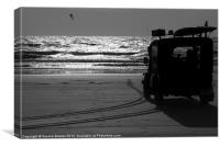 Lifeguard on Mandrem Beach-B&W, Canvas Print