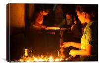 Butter Lamps at Night Boudha Stupa, Canvas Print