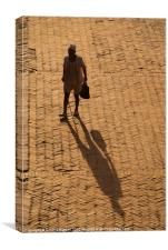 Man and Shadow in Durbar Square Bhaktapur, Canvas Print