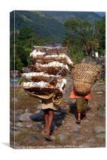 Man Carrying Chickens near Birethanti, Canvas Print