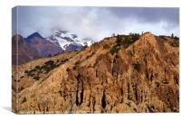 Mountains en route to Manang, Canvas Print