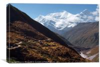 Snowy Mountain and Valley along Annapurna Circuit, Canvas Print