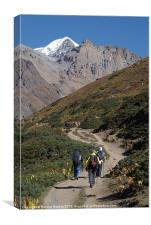 Trekkers on the Annapurna Circuit, Canvas Print