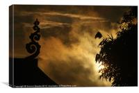 Temple Finial and Bamboo at Dawn, Canvas Print