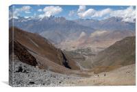 Descending Thorung La, Annapurna Circuit, Nepal, Canvas Print