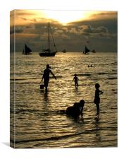 Silhouettes at Sunset, Canvas Print