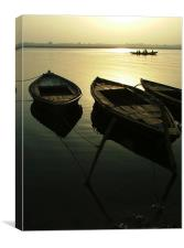 Boats on the Ganges, Canvas Print