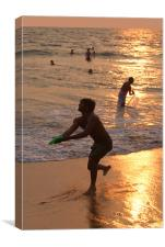 Frisbee Thrower on Varkala Beach at Sunset, Canvas Print