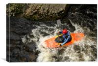 Orange Kayak Paddling, Canvas Print