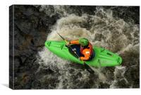 Green Kayak Paddling, Canvas Print