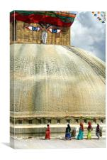 Circumambulating the Stupa Boudha, Canvas Print