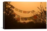 Prayer Flags and Mist Poon Hill, Canvas Print