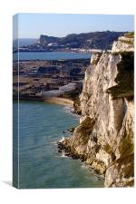 The White Cliffs of Dover and Dover Port, Canvas Print