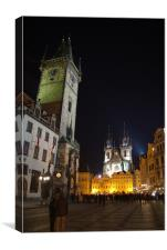 Old Town Square at Night, Prague, Canvas Print