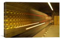 Prague Metro - The Train Arrives, Canvas Print