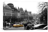 Taxis in Wenceslas Square, Canvas Print