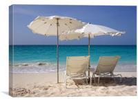 Sun Loungers on Grace Bay Beach, Canvas Print