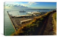 Dover Docks from the White Cliffs, Canvas Print