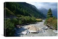 View Along River Marpha to Ghasa, Canvas Print
