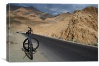 Mountain Biking down from Khardung La, Canvas Print