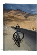 Mountain Biking down from Khardung La, Canvas Print