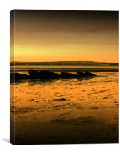 Sunset over South Queensferry Beach, Canvas Print