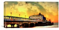 Dusk At Bournemouth, Canvas Print