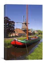 Ship and Windmill, Canvas Print