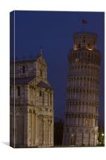 Leaning tower and dome @ night, Canvas Print