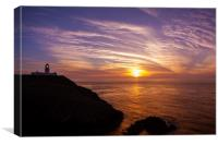 Sunset at Strumble Head Lighthouse, Canvas Print