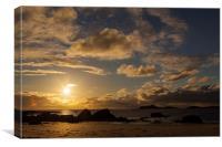 midnight sun at the beach at Ramberg, Canvas Print