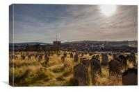 Whitby Abbey cemetery, Canvas Print