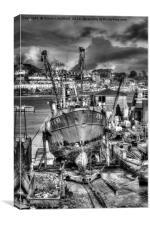 Fowey Polruan Shipyard, Canvas Print