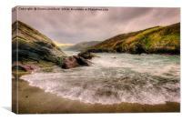 Lansallos Beach Cornwall, Canvas Print