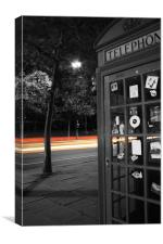 London Telephone box with trail of lights, Canvas Print