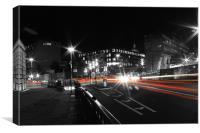 London busy road in trail of lights, Canvas Print