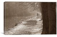 Canalside recreation, Canvas Print