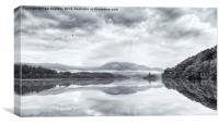 Loch Venachar, The Trossachs. Scotland. Monotone, Canvas Print
