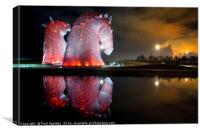 Kelpies Watching the Fire - Profile, Canvas Print