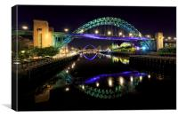Tyne Bridges at Night, Canvas Print